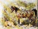 """Juliusz Kossak - """"Odpoczynek - koń i chart"""""""