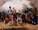 """Juliusz Kossak - """"Polowanie""""  1854r., akwarela"""