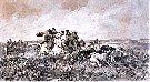 """Juliusz Kossak - """"Polowanie stepowe na wilka""""  1883r., akwarela."""