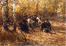 Alfred Wierusz-Kowalski Naganiacze odpoczywający w lesie. Ok. 1910. Olej na płótnie. 73 x 105,5 cm.