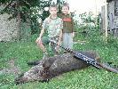 Mój syn Olek ( po prawej ) Z kolegą Erykiem przy strzelonym przezemnie dziku w obwodzie nr. 29 Koła Łowieckiego